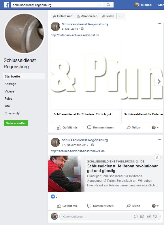 Eine Facebook Seite eines vermeintlich örtlichen Schlüsseldiensts in Regensburg