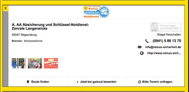 Screenshot der Webite gelbeseiten.de mit Schlüsseldiensten in Regensburg
