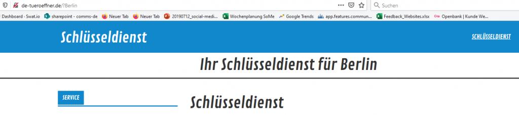 Website mit dem Schriftzug Ihr Schlüsseldienst in Berlin